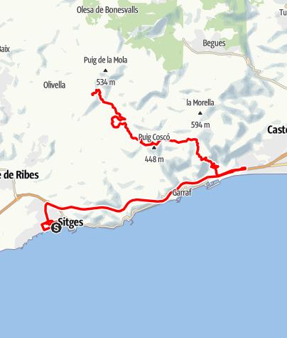 Map / Tour 26: Sitges-Parc Natural del Garraf-Monestir Budista del Garraf Sakya Tashi Ling-Observatori Astronòmic del Garraf: Tag 1