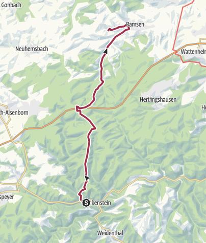 Karte / Frankenstein Trekking - Von Platz 13 Frankenstein zum Platz 9 Ramsen