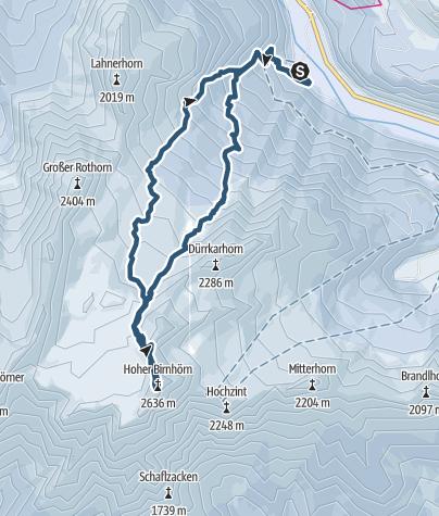 Karte / Birnhorn (2.634 m) - Skitour auf den höchsten der Leoganger Steinberge