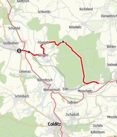 Karte / Wanderung von Großbothen durch den Thümmlitzwald nach Tanndorf