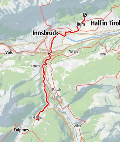 Karte / Romedius-Weg von Thaur nach Mieders