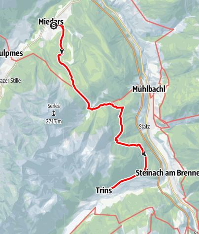 Karte / Romedius-Weg von Mieders nach Trins