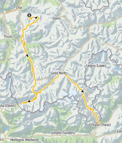 Karte / Südflucht Graubünden (3 Etappen)