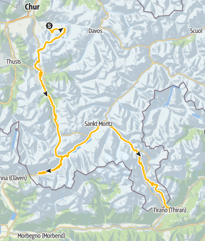 Map / Südflucht Graubünden (3 Etappen)