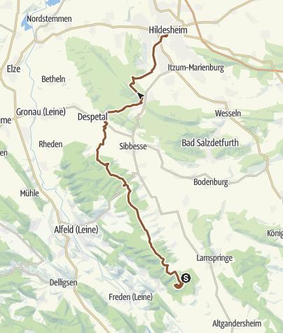 Karte / Rennstieg   Hohe Schanze - Hildesheim
