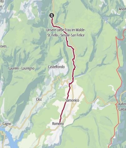 Karte / Romedius-Weg von Unsere Liebe Frau im Walde bis Romeno