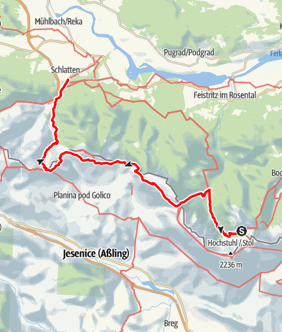 Map / 03A Südalpenweg, E14: Klagenfurter Hütte - Rosenbach