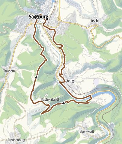 """Map / Mountainbike-""""Schinkel-Tour"""" Saarburg - Serrig und Kastel-Staadt"""