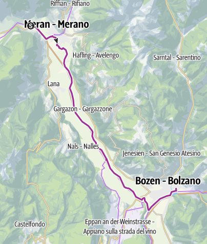 Map / Val d'Adige cycling track Algund - Bozen