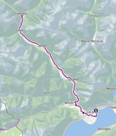 Cartina / Percorso Vallemaggia - Tappa 2: Locarno-Cavergno