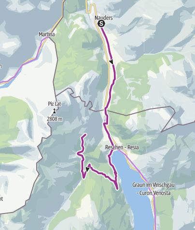 Karte / Radtour von Nauders zur Reschenalm