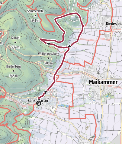 Map / St. Martin - Rundweg zum Hambacher Schloss