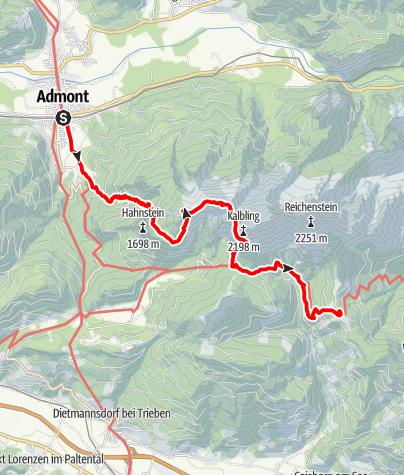 Karte / Gesäuse-Runde - Etappe 1: Admont - Mödlinger Hütte