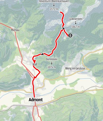 Karte / Gesäuse-Runde - Etappe 5: Grabneralm - Admont