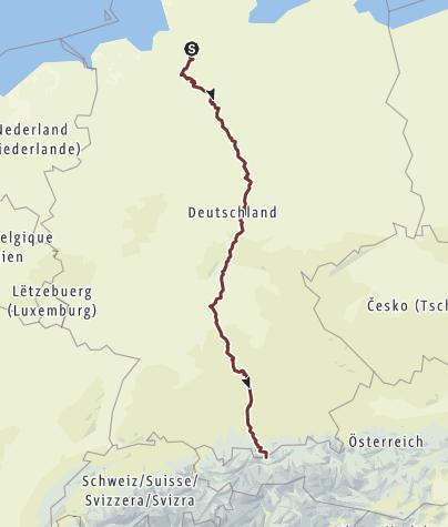 Karte / VIA ROMEA Deutschland Gesamtstrecke Stade - Mittenwald