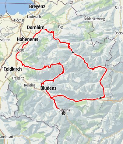 Karte / Vorarlberg 4-Pässe Tour (Rund um Vorarlberg)