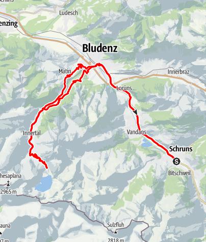 Karte / Montafon - Brandnertal Tour (Lünersee Tour)
