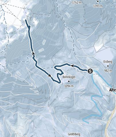 Karte / Die Schafries auf der Schneealpe (Steilabfahrt)