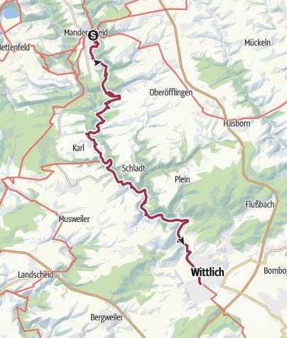 Karte / Lieserpfad: Etappe 3: Manderscheid-Wittlich