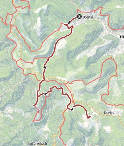 Karte / Auf der Fährte des Rothirsches - 5. Etappe Obertal-Kniebis