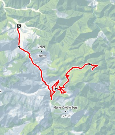 Karte / Werfneralm über Schaumbergalm und Ebenforstalm ab Molln (Bodinggraben, Jaidhaus), Reittour