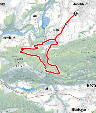 Karte / Andelsbuch | Laufstrecke | Wald-Runde