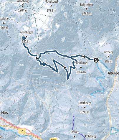 Karte / Durch den Grubbichlwald auf den Grünkogel (Schneealpe) – mit Abfahrtsvariante Grubbichlrinne
