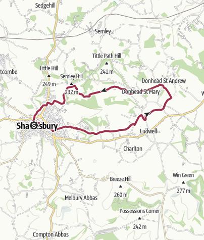 Map / Shaftesbury Loop via Wessex Ridgeway