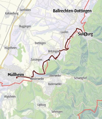 Karte / Himmelreich-Jakobusweg für ALLE (Abschnitt 2) Etappe 4 von Sulzburg nach Müllheim