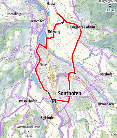Karte / Illerradweg und Burgberger Tierparadies
