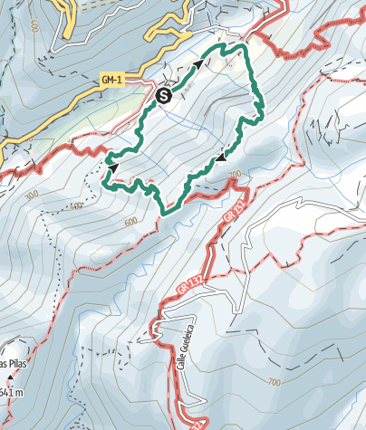 Mapa / Sendero por la cornisa roja en lo alto del Valle Gran Rey