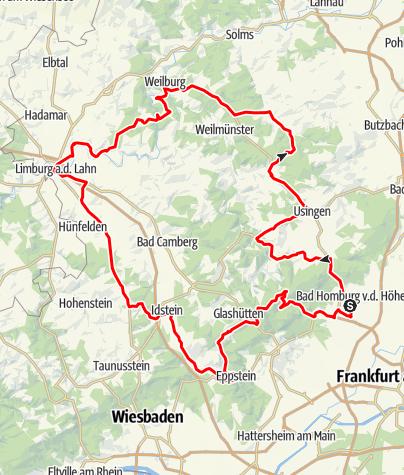 Karte / Mit Motorrad oder Oldtimer unterwegs im Taunus