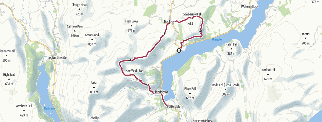 Map / Gowbarrow from Aira Force to Patterdale