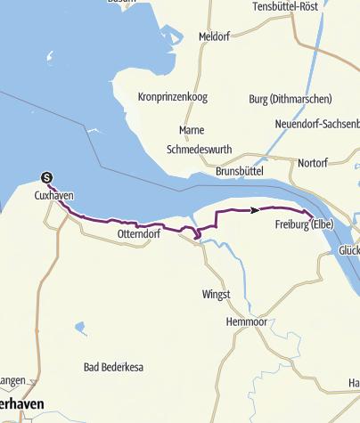 Karte / Elberadweg - Abschnitt A - Von Cuxhaven nach Freiburg