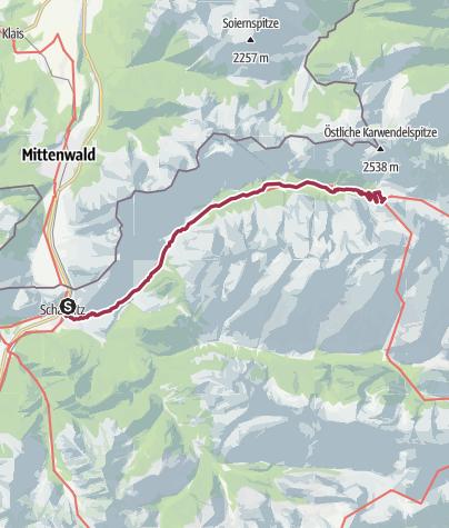Karte / Via Venezia Scharnitz - Venedig 1. Etappe: Scharnitz - Karwendelhaus