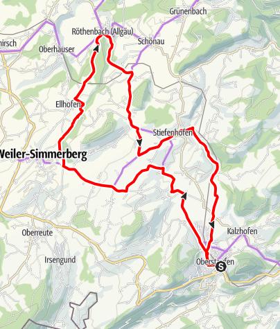 Karte / Von Oberstaufen um den Ellhofer Tobel