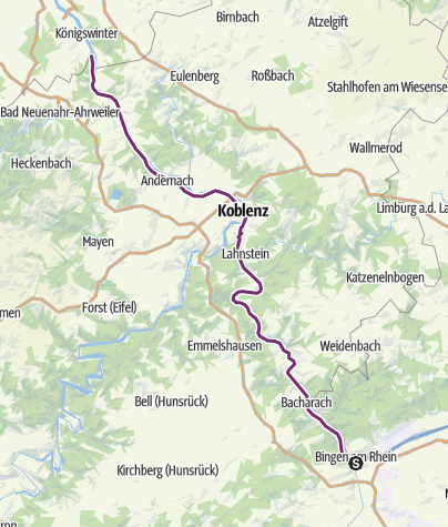 Map / Rheinradweg / Romantischer Rhein linksrheinisch