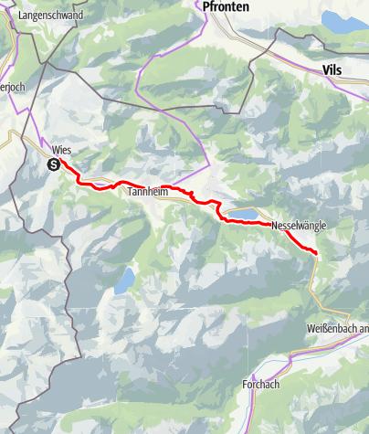 Karte / Auf dem Radwanderweg durch das Tannheimer Tal