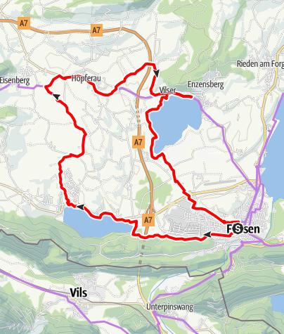 Karte / Hopfensee und Weißensee mit dem Rad erleben