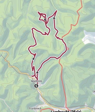 Karte / Wanderung zu den Burgruinen Neidenfels, Drachenfels und Lichtenstein
