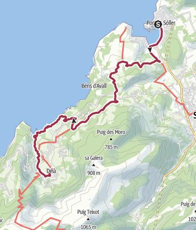 Karte / Über Llucalcari nach Deià