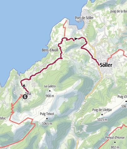 Karte / GR 221 / 2: Deià – Sóller