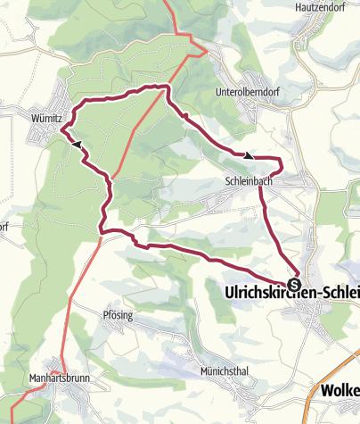 Karte / Rund um den Glockenberg ab/bis Ulrichskirchen