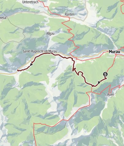 Map / Leonhardsweg Etappe G3A: Frauenalpe (GH Kriesche) - St. Lorenzen - Stadl