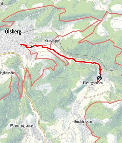 """Karte / Gebirgsfest-Tour """"Historisches Golddorf Elleringhausen - Wanderung mit geschichtlichem Rundgang"""" Samstag 10.30 Uhr"""