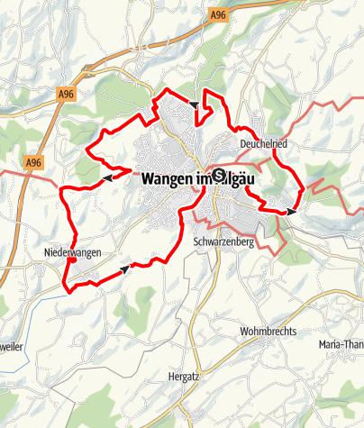 Karte / Permanente Halbmarathonstrecke rund um Wangen im Allgäu