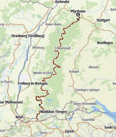 Karte / Bike Crossing Schwarzwald Extrem, Pforzheim - Bad Säckingen