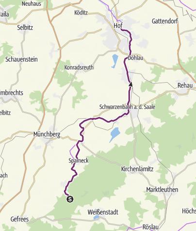 Karte / Saaleradweg Etappe 1- Von der Saalequelle nach Hof