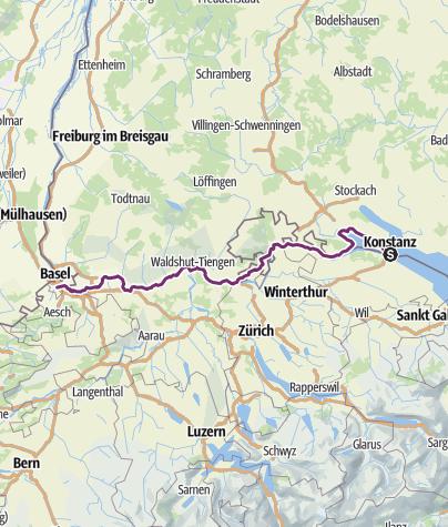 Karte / Rhein-Radweg, von Konstanz nach Basel