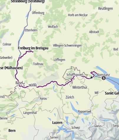 Map / Rhein-Radweg, von Konstanz nach Freiburg